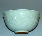 Celadon Chawan Tea bowl, Incised Dragon by Suwa Sozan I