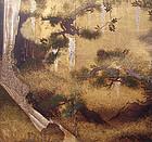 Extravagant Early Edo Japanese Gold Waterfall Screen