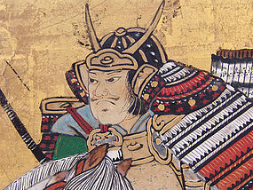 18th century Japanese Samurai Battle Screen, Taiheiki