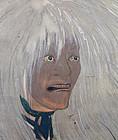 Taisho p. Japanese Silver Noh Screen, Kosetsu