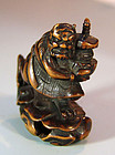 Antique Japanese Boxwood Netsuke, Demon