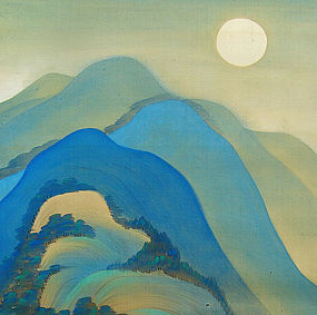 Antique Japanese Scroll, Moonlight by Yazawa Gengetsu