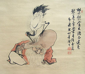 Humorous Antique Japanese Scroll, Suzuki Shonen