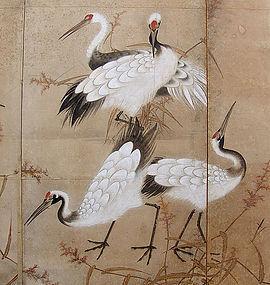 Pair of Edo period Japanese Crane Screens A