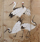 Pair of Edo period Japanese Crane Screens A