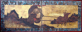 16th-17th century Antique Japanese Gold Screen