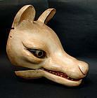 Rare! Antique Japanese Kyogen Fox Mask