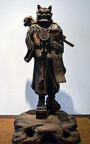 Antique Praying Demon Wood Carving. Oni no Nenbutsu