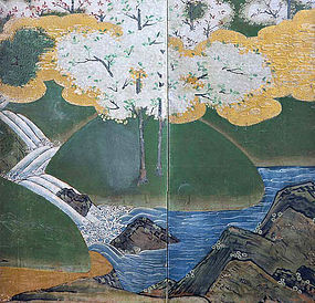 Edo Japanese Gold Screen, Cherry Blossoms, Pine & Waves