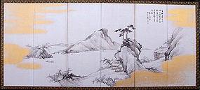 Antique Japanese Landscape Screen Set by Ikeda Keisen