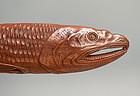 Sashi Netsuke of a Dried Fish, Signed Shozan