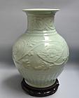 Massive Miyanaga Tozan Celadon Porcelain Vase