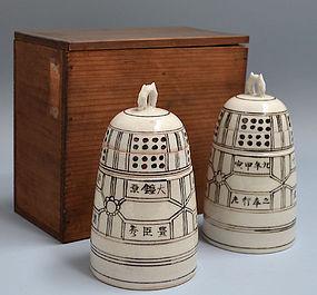 Unusual Pair Pottery Bell Tokkuri, Taniguchi Chojiro