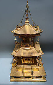 Large Gilded Japanese Temple Tower Reliquary