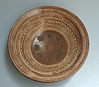 Antique Japanese Large Mishima-yaki Pottery Bowl