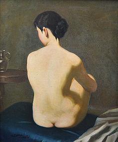 Antique Japanese Oil Painting, Nude by Yoshii Kosaburo