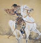 Large Samurai Warrior on Horse Meiji p. Screen, Beizan