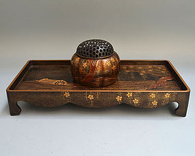 Antique Japanese Maki-e Lacquer Koro and Table