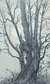 Rising moon Ink Painting by Zen Priest Kimura Hyakuboku