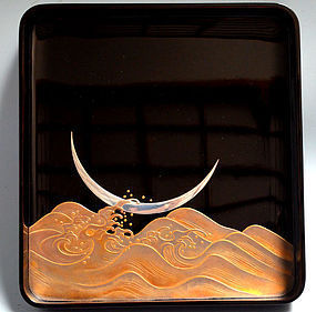 Antique Japanese Lacquer Box, Sakura, Moon & Waves