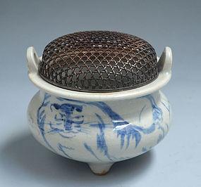 Porcelain Koro by Tomita Keisen & Mashimizu Zoroku