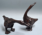 Antique Japanese Root-wood Scholar Carvings, Geese
