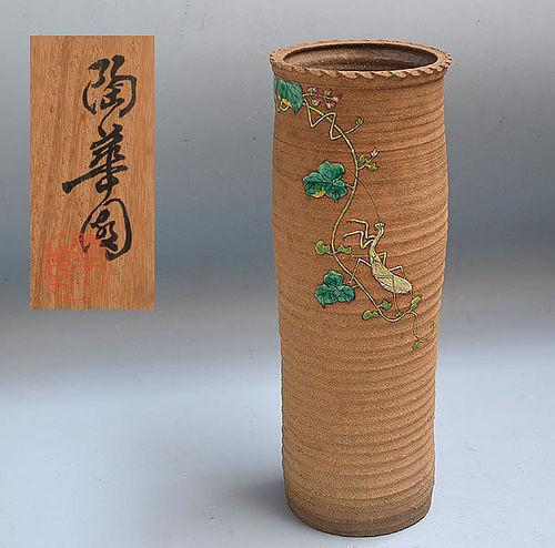 Rare Large Antique Banko Vase with Kamakiri, Mori Suiho