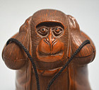 Boxwood Monkey-shaped Netsuke, Ojime and Tobacco Pouch