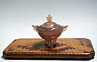 Antique Japanese Lacquered Koro Incense Burner Stand
