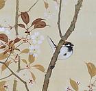 Japanese Silk Cherry Blossom Scroll, Kakutei