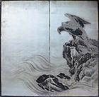 Meiji period Silver Japanese Hawk Screen, Honen