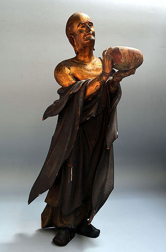 Early Edo Japanese Gilded Buddhist Koro Sculpture, Arahat