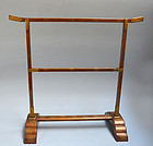 Edo p Japanese Samurai Gold Maki-e Tenugui Kake Rack