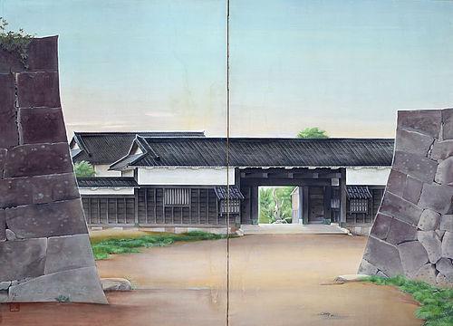 Hikone Castle, 1927 Nitten Exhibited Screen by Honjo Toen