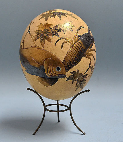 Meiji Period Japanese Lacquered Ostrich Egg Forms