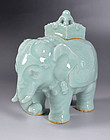 Elephant Shaped Celadon Koro by Miyanaga Tozan