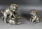 Antique Set, Japanese White Bronze Puppies at Play