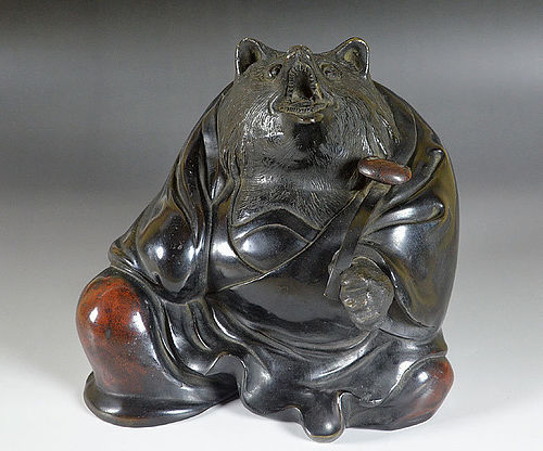 Antique Japanese Bronze Tanuki in Priest Robes