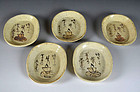 Antique Japanese Shino-Oribe Plate Set, Rokkasen