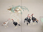 Shamo, Taisho-Showa Japanese silk Screen, Seiryu