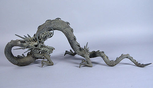 Antique Japanese Bronze Dragon Water Spout from Temple
