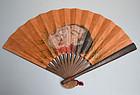 Kubi-e Samurai Tessen War Fan Painted with Head