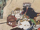 Edo p. Japanese Gold Samurai Battle Screen, Uji Bridge