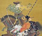 Meiji period Japanese Painted Alcove Doors Samurai