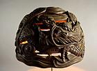 Meiji p. Japanese Vying-Dragons Wood Carving