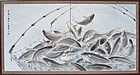 Chinese Painting of Carp mounted as Japanese Screen, 1967