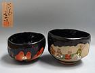 2 Antique Miyagawa (Makuzu) Kozan Pottery Chawan Tea Bowls