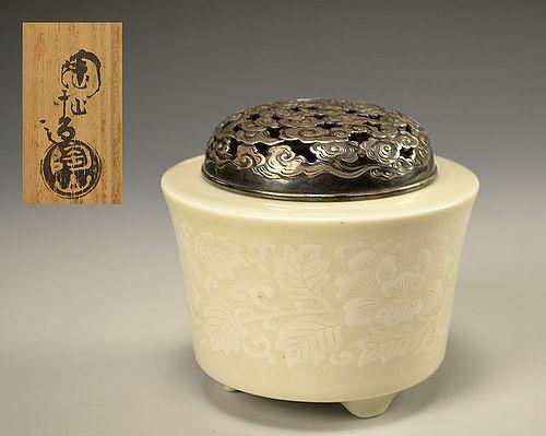 Antique Japanese Porcelain Koro Incense Burner, Ito Tozan