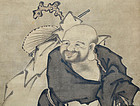 Hotei by Kangetsu, Mid Edo Japanese Painted Scroll