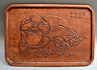 Antique Japanese Carved Kobon Incense Tray sgnd Beizan